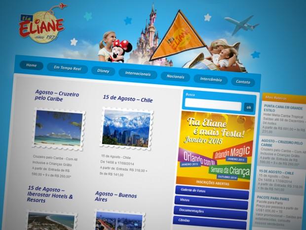 Criação do Site e Blog da Tia Eliane Turismo