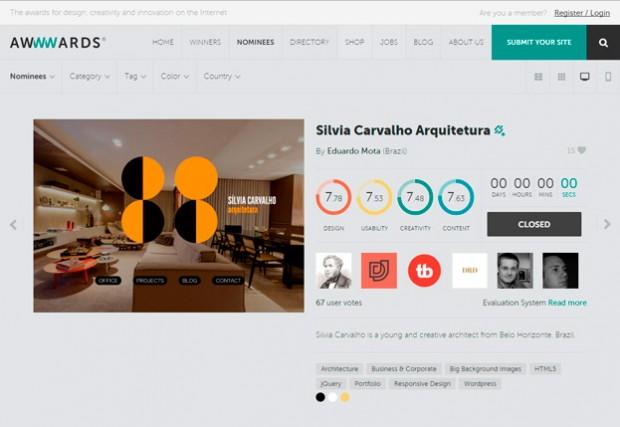 Site Silvia Carvalho no Awwwards